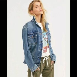 Free People distressed trucker jean jacket